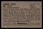 1952 Bowman Large #49  Jerrell Price  Back Thumbnail