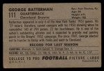 1952 Bowman Large #111  George Ratterman  Back Thumbnail