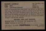1952 Bowman Large #128  Dante Lavelli  Back Thumbnail