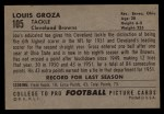 1952 Bowman Large #105  Lou Groza  Back Thumbnail