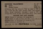 1952 Bowman Large #89  George Taliaferro  Back Thumbnail