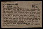 1952 Bowman Large #47  William Fischer  Back Thumbnail