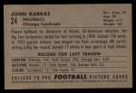 1952 Bowman Large #24  John Karras  Back Thumbnail
