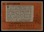 1956 Topps Davy Crockett #50 ORG  Davy Arrives  Back Thumbnail