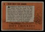 1956 Topps Davy Crockett #5 ORG  Bear Meat For Dinner  Back Thumbnail