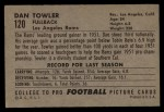 1952 Bowman Large #120  Dan Towler  Back Thumbnail