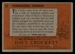 1956 Topps Davy Crockett #17 ORG  -     Tomahawk Terror  Back Thumbnail