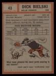 1962 Topps #43  Dick Bielski  Back Thumbnail