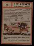 1962 Topps #40  J.W. Lockett  Back Thumbnail