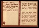 1967 Philadelphia #91  Tommy McDonald  Back Thumbnail