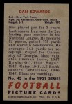 1951 Bowman #43  Dan Edwards  Back Thumbnail