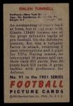 1951 Bowman #91  Emlen Tunnell  Back Thumbnail