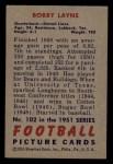 1951 Bowman #102  Bobby Layne  Back Thumbnail