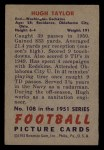 1951 Bowman #108  Hugh Taylor  Back Thumbnail