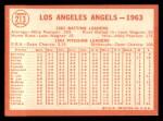 1964 Topps #213   Angels Team Back Thumbnail
