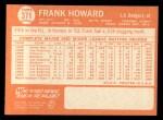 1964 Topps #371  Frank Howard  Back Thumbnail