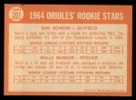 1964 Topps #201   -  Wally Bunker / Sam Bowens Orioles Rookies Back Thumbnail