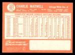 1964 Topps #401  Charlie Maxwell  Back Thumbnail