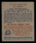 1949 Bowman #132 PRT Al Evans  Back Thumbnail