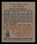 1949 Bowman #191  Joe Haynes  Back Thumbnail