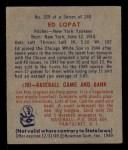 1949 Bowman #229  Eddie Lopat  Back Thumbnail