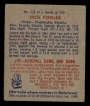 1949 Bowman #171  Dick Fowler  Back Thumbnail