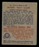 1949 Bowman #150  Alfred Clark  Back Thumbnail