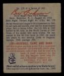 1949 Bowman #129  Billy Johnson  Back Thumbnail