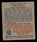 1949 Bowman #27  Bob Feller  Back Thumbnail