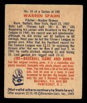 1949 Bowman #33  Warren Spahn  Back Thumbnail