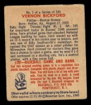 1949 Bowman #1  Vern Bickford  Back Thumbnail