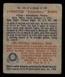 1949 Bowman #216  Schoolboy Rowe  Back Thumbnail