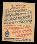 1949 Bowman #43  Dale Mitchell  Back Thumbnail