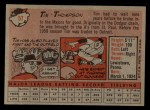 1958 Topps #57 ^WN^ Tim Thompson  Back Thumbnail