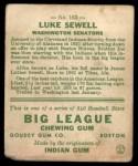 1933 Goudey #163  Luke Sewell  Back Thumbnail