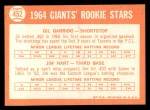 1964 Topps #452   -  Jim Ray Hart / Gil Garrido Giants Rookies Back Thumbnail