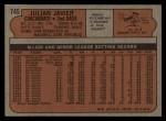 1972 Topps #745  Julian Javier  Back Thumbnail