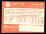 1964 Topps #387  Terry Fox  Back Thumbnail