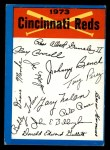 1973 Topps Blue Team Checklists #7   Cincinnati Reds Front Thumbnail