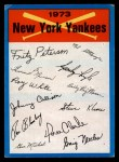 1973 Topps Blue Checklist   Yankees Front Thumbnail