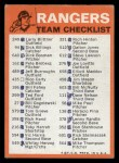 1973 Topps Blue Team Checklists #24   Texas Rangers Back Thumbnail