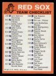 1973 Topps Blue Team Checklists #3   Boston Red Sox Back Thumbnail