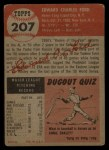 1953 Topps #207  Whitey Ford  Back Thumbnail