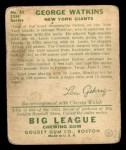 1934 Goudey #53 YEL George Watkins  Back Thumbnail