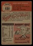 1953 Topps #151  Hoyt Wilhelm  Back Thumbnail