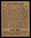 1940 Play Ball #167  Frankie Frisch   Back Thumbnail
