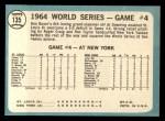 1965 Topps #135   -  Ken Boyer / Elston Howard 1964 World Series - Game #4 - Boyer's Grand Slam Back Thumbnail