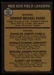 1973 Topps #131 BRN  -  Eddie Kasko / Doug Camilli /  Don Lenhardt / Eddie Popowski / Lee Stange Red Sox Leaders Back Thumbnail