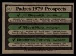 1979 Topps #725   -  Jim Beswick / Steve Mura / Broderick Perkins Padres Prospects   Back Thumbnail