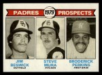 1979 Topps #725   -  Broderick Perkins / Steve Mura / Jim Beswick Padres Prospects   Front Thumbnail